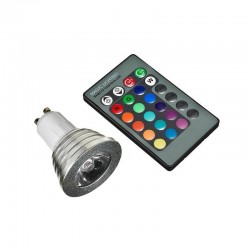 ZR10 ŻARÓWKA E27 LED SMD Kolorowa RGB 5W +PILOT IR