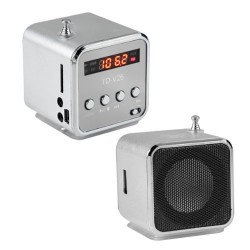 ZS21A MINI GŁOŚNIK RADIO USB MP3 SREBRNY