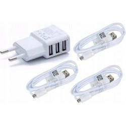 ŁADOWARKA SIECIOWA DO SAMSUNG 3 x KABEL Micro USB