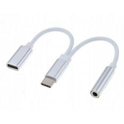ADAPTER KABEL USB C + MINI JACK 3,5MM 2W1
