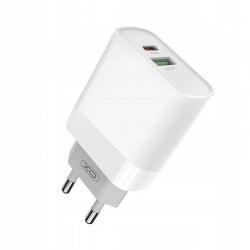 Ładowarka sieciowa L64 biała 2USB QC3.0/ PD USB-C