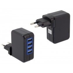 PLP47B ŁADOWARKA SIECIOWA 4x USB CZARNA